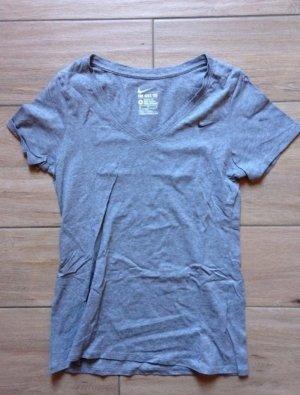 Nike Damen T-Shirt V-Ausschnitt Größe M hellgrau