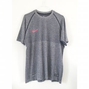 Nike Dri-Fit Sport Shirt halbarm grau Melange authentic Fitness Shirt L
