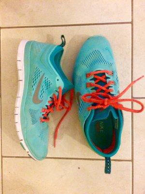 Nike free women, Türkis / Neonorange, Größe 40