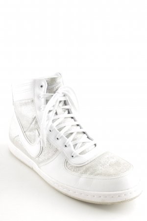 Nike High Top Sneaker weiß-silberfarben Motivdruck Glitzer-Optik