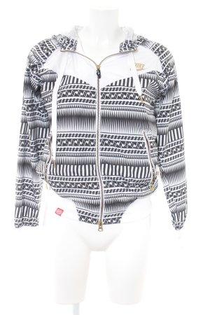 Nike Kapuzenjacke weiß-schwarz Motivdruck Casual-Look