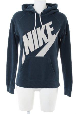 Nike Kapuzensweatshirt blau-weiß Schriftzug gedruckt Casual-Look