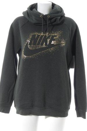 Nike Kapuzensweatshirt dunkelgrün-goldfarben Schriftzug gedruckt