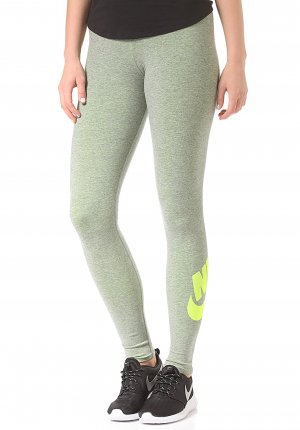 NIKE Leg-A-See-Logo Leggings - carbon heather/volt
