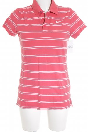 Nike Polo Shirt white-bright red striped pattern casual look