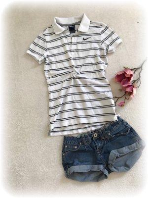 Nike Poloshirt, Pikeeshirt in weiß mit schwarzen Streifen, xs