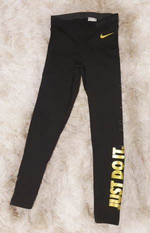 Nike Pro Just do it Leggins in Schwarz Gold Gr S