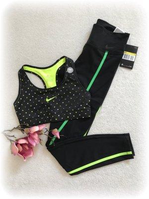Nike Pro Sportbh in schwarz mit neongelben nikezeichen auf der Brustmitte, NEU