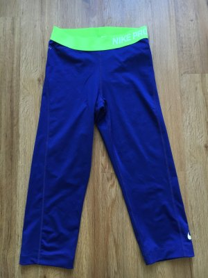 Nike pro tights 3/4 Sporthose leggings s blau neon grün