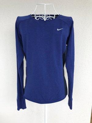 Nike Running Langarmshirt blau/schwarz mesh Gr.S