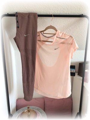 Nike Shirt, Running mit Netz und offenem Rücken, altrosa, hellrosa, M (36/38)