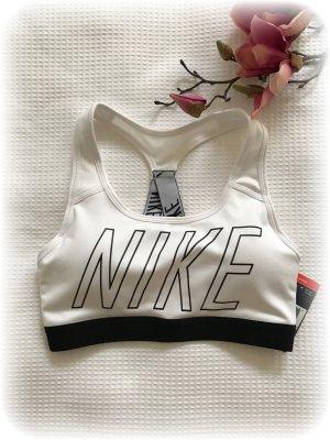 Nike Sport Bh, Nike Pro Classic padded, weiß mit schwarzem Logo, XS, N E U