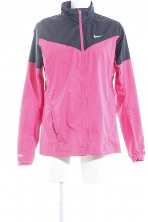 Nike Sports Jacket black-neon pink color blocking athletic style