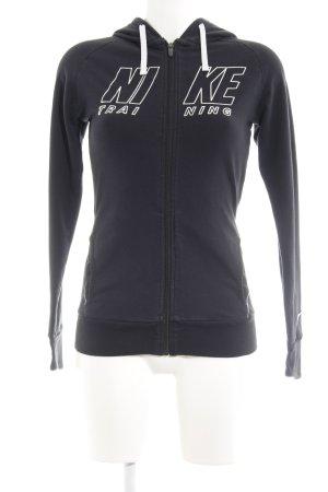 Nike Sportjacke schwarz-silberfarben Schriftzug gedruckt sportlicher Stil