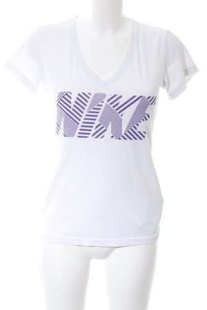 Nike Sports Shirt white-lilac printed lettering casual look