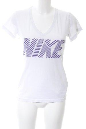 Nike Sportshirt weiß-lila Schriftzug gedruckt Casual-Look