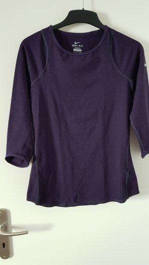 Nike Sportshirt Longsleeve dunkellila 3/4 Arm Größe S