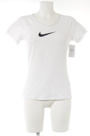 Nike Sportshirt weiß-schwarz platzierter Druck sportlicher Stil