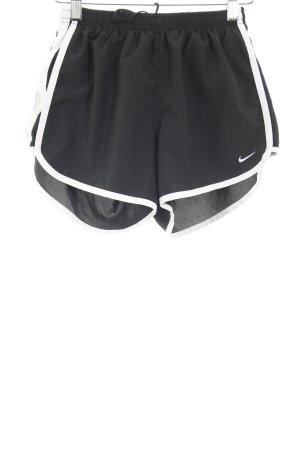 Nike Sportshorts schwarz-weiß Streifenmuster Casual-Look