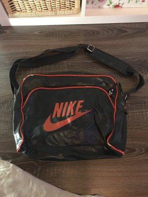 Nike Sporttasche Umhängetasche grau orange Leder