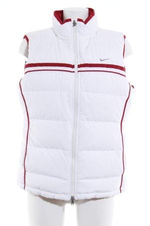 Nike Chaleco acolchado blanco-rojo oscuro estampado a rayas look casual