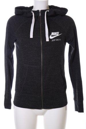 Nike Chaqueta de tela de sudadera negro-blanco moteado look casual