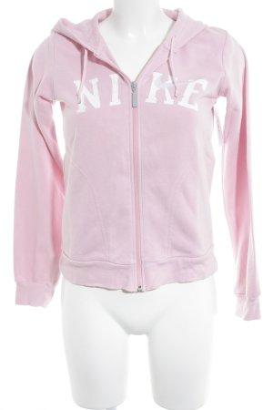 Nike Sweatjacke rosa-weiß Schriftzug gedruckt Casual-Look
