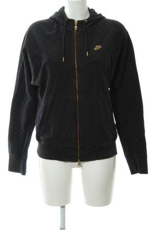 Nike Chaqueta de tela de sudadera negro-color oro look casual