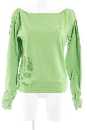 Nike Sweatshirt grasgrün Motivdruck Casual-Look