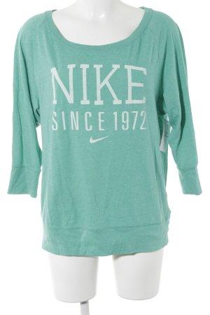 Nike Sweatshirt türkis Schriftzug gedruckt sportlicher Stil
