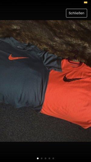 Nike Sports Shirt grey-neon orange