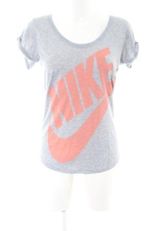 Nike T-Shirt light grey-light orange flecked casual look