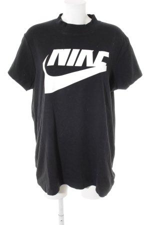 Nike T-shirt zwart-wit gedrukte letters casual uitstraling