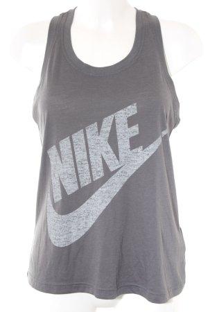 Nike Tanktop grau-hellgrau Schriftzug gedruckt Casual-Look