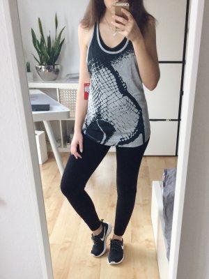 NIKE Top Tanktop Shirt grau meliert schwarz Print Gr. M Tennis Fitness Sport