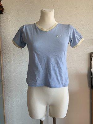 Nike T-shirt col en V bleu azur-jaune clair