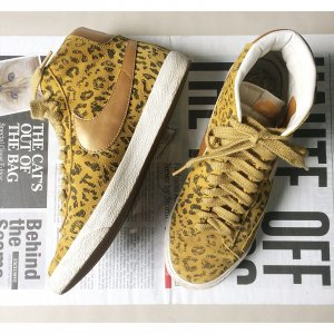 Nike Vintage Blazer 40,5 beige Bronze Leo Print Special Edition Sneakers Turnschuhe High Top