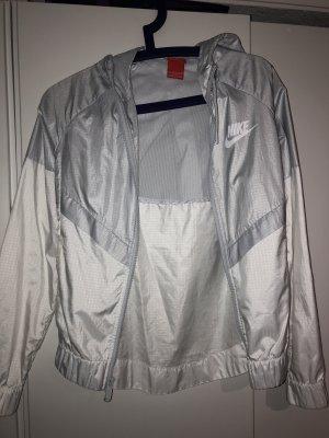 Nike Chubasquero blanco-color plata