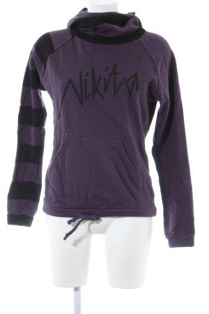Nikita Jersey con capucha violeta oscuro-negro estampado a rayas estilo sencillo