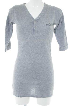Nikita Lang shirt lichtgrijs-wit abstract patroon casual uitstraling