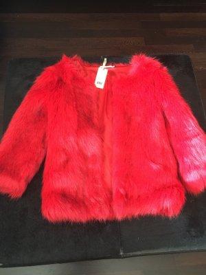 Nikkie Rote Faux-Fur kurze Bolero Mantel