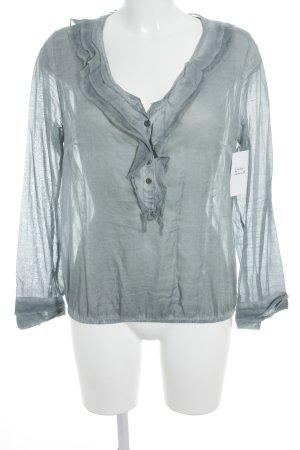 NILE atelier Langarm-Bluse graublau Batikmuster Casual-Look