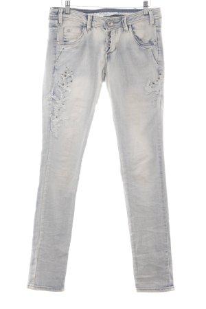 NILE atelier Slim Jeans creme-himmelblau Logo-Applikation aus Metall