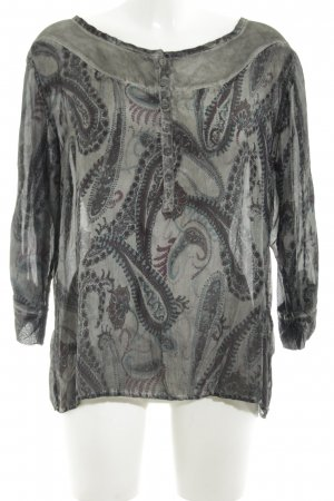 Nile Transparenz-Bluse hellgrau-schwarz abstraktes Muster Casual-Look