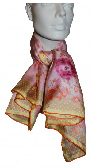 Nina Ricci Seidentuch, Blumenmuster, rosé, 90 x 90 cm, 100% Seide