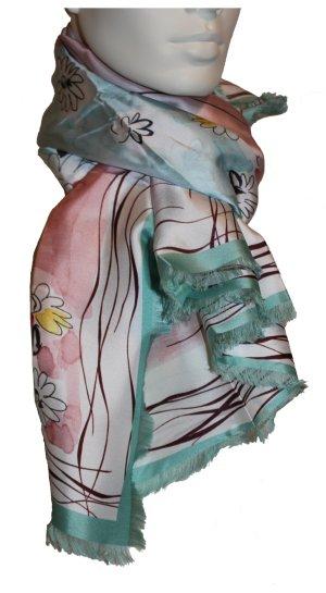 Nina Ricci Seidentuch, turquoise-rose, 120 x 120 cm, 100% Seide