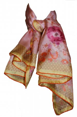 Nina Ricci Tuch, Blumenmuster, rosé, 90 x 90 cm, 100% Seide