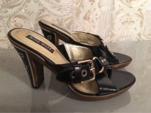 Nine west Clog Sandals black-gold-colored