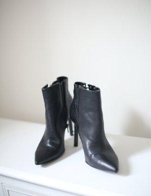 Nine West Ankle Boots Silber schwarz Echtleder Oxtane Gr. 38 Western