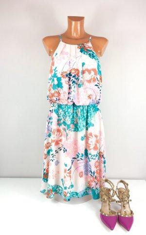 Nine West knielanges Sommerkleid Gr. 38 geblümt in hellen Tönen